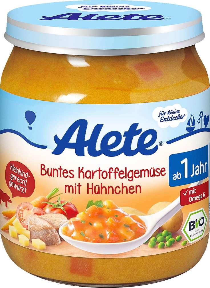 Abbildung des Sortimentsartikels Alete Kleine Entdecker buntes Karftoffel-Gemüse mit Hühnchen 250g