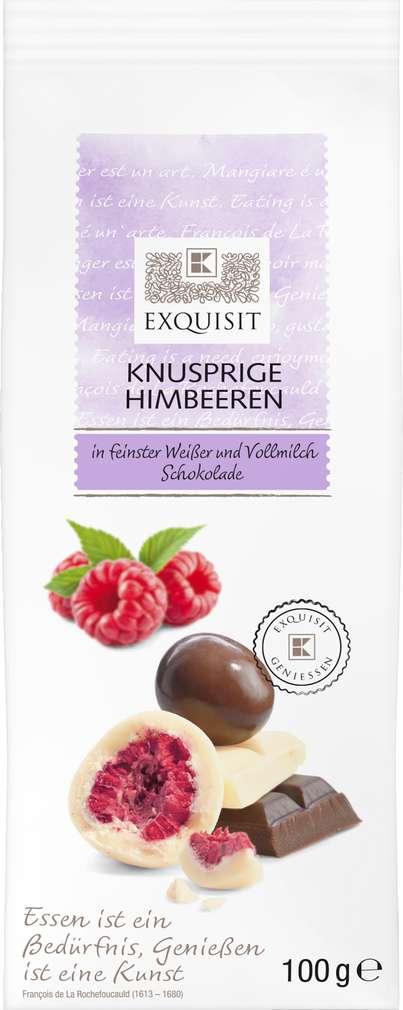 Abbildung des Sortimentsartikels Exquisit Knusprige Himbeeren in Weißer und Vollmichschokolade 100g