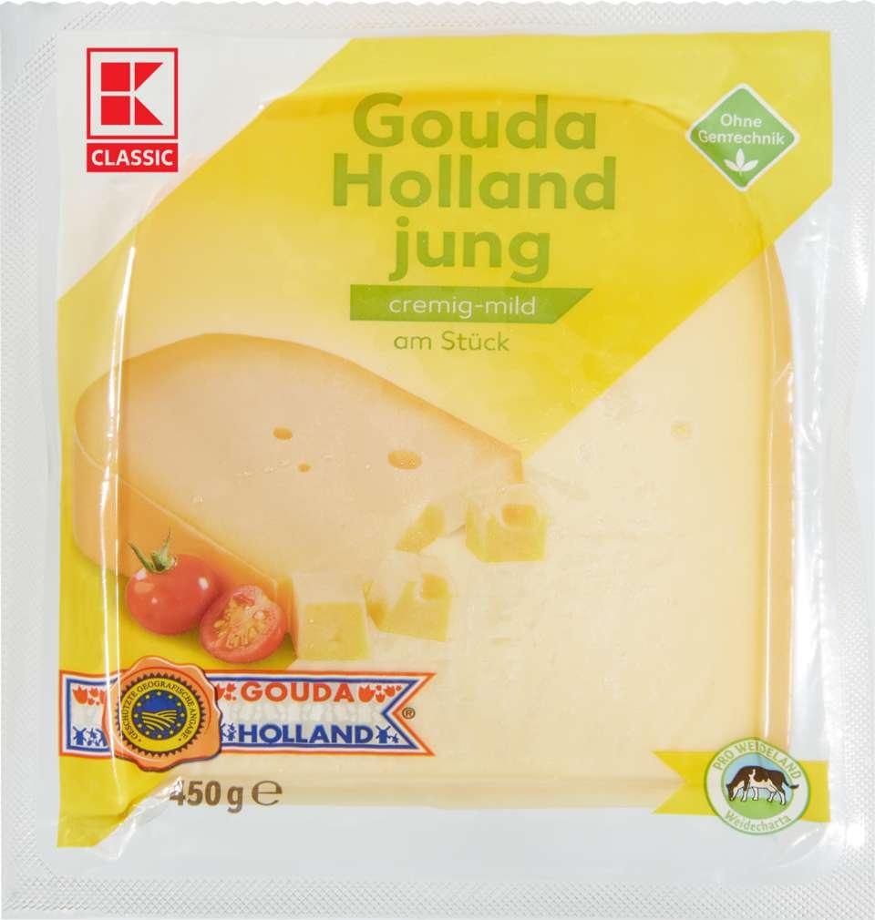 Abbildung des Sortimentsartikels K-Classic NL Gouda jung Stück 48% Fett i.Tr. 450g