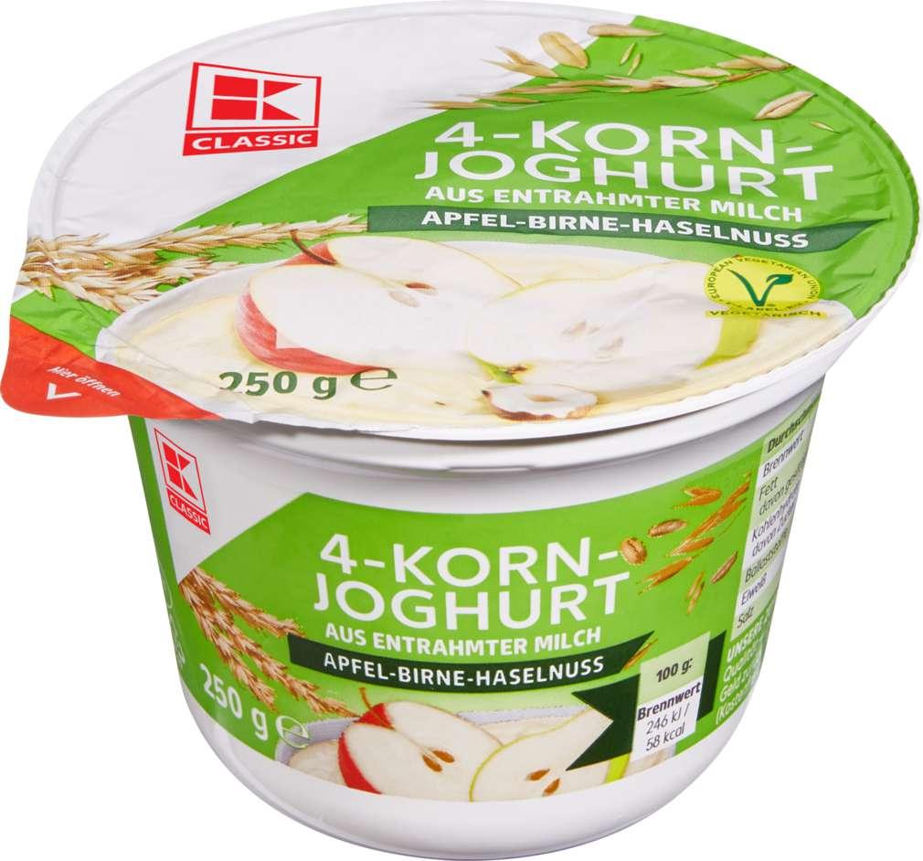 Abbildung des Sortimentsartikels K-Classic Joghurt mit Cerealien 0,1% Fett Apfel/Birne/Haseln 250g