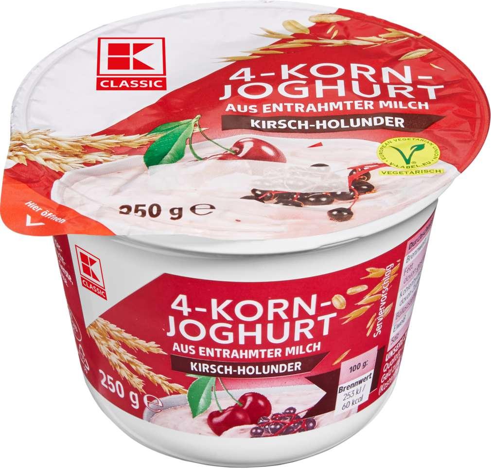 Abbildung des Sortimentsartikels K-Classic Joghurt mit Cerealien 0,1% Fett Kirsch/Holunder 250g