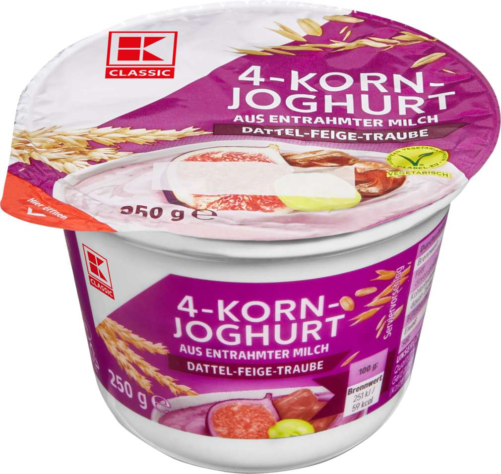 Abbildung des Sortimentsartikels K-Classic Joghurt mit Cerealien 0,1% Fett Dattel/Feige/Traube 250g