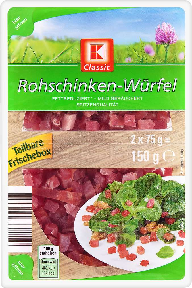 Abbildung des Sortimentsartikels K-Classic Rohschinken-Würfel 2x75g