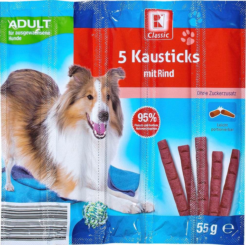 Abbildung des Sortimentsartikels K-Classic Hundekausticks mit Rind 5x11g