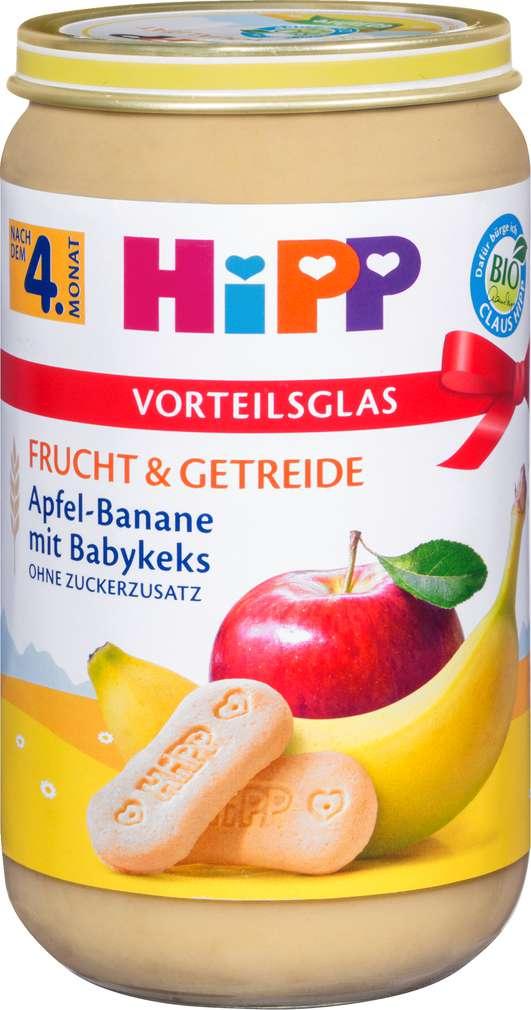 Abbildung des Sortimentsartikels Hipp Frucht & Getreide Apfel-Banane mit Babykeks 250g