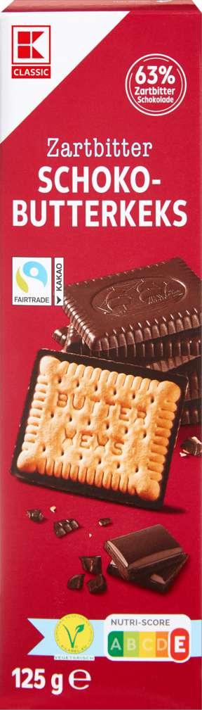 Abbildung des Sortimentsartikels K-Classic Butterkeks mit Zartbitterschokolade 125G