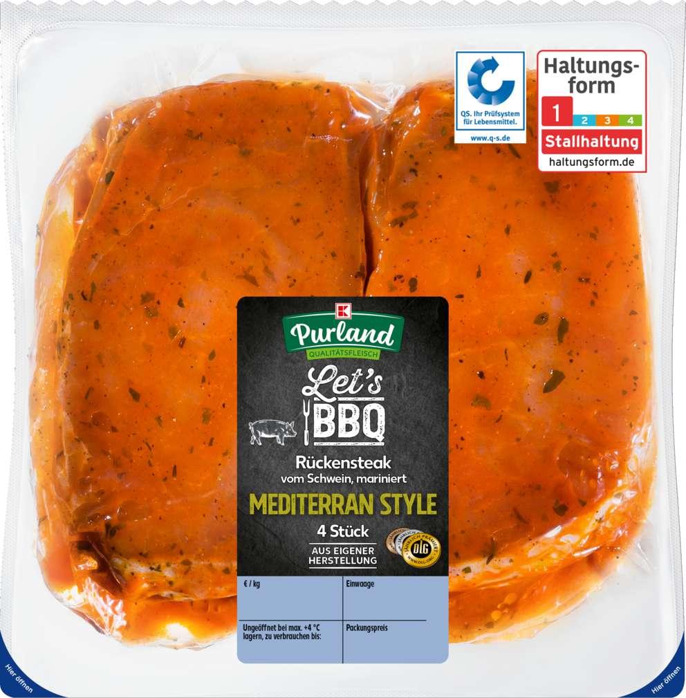Abbildung des Sortimentsartikels K-Purland Let´s BBQ Steak Mediterran Style mariniert, 4 Stück