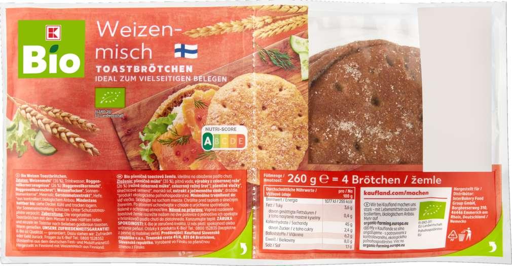 Abbildung des Sortimentsartikels K-Bio Toast-Brötchen Weizenmisch 260g, 4 Stück