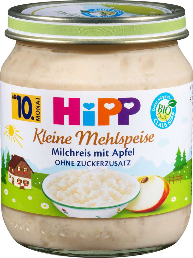 Abbildung des Sortimentsartikels Hipp Mehlspeise Apfel/Milchreis ab dem 10.Monat 200g