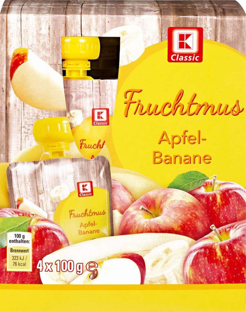Abbildung des Sortimentsartikels K-Classic Fruchtmus Apfel-Banane 4x100g