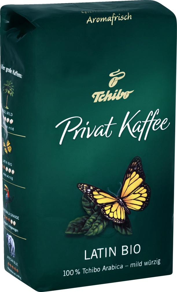 Abbildung des Sortimentsartikels Tchibo Privat Kaffee Latino Bio ganze Bohnen 500g