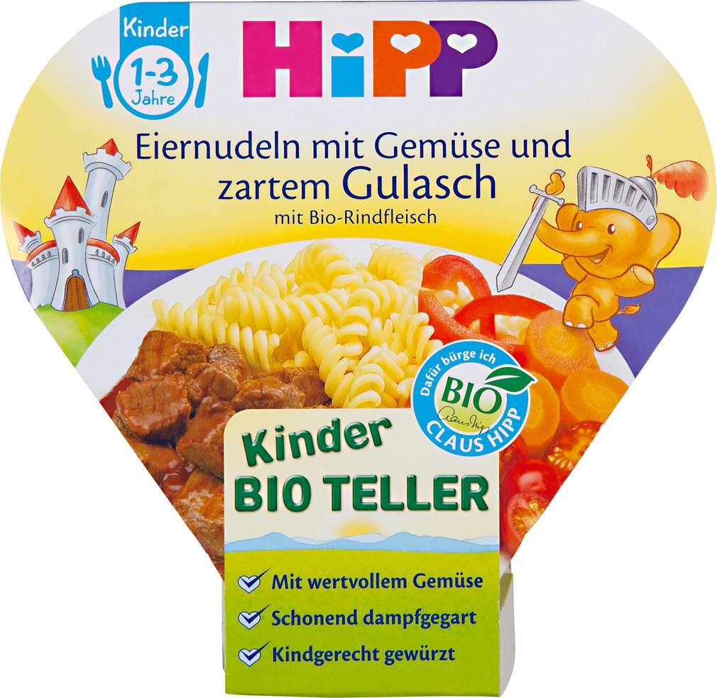Abbildung des Sortimentsartikels Hipp Kinder Bio Teller Kinder Bio Teller Eiernudeln mit Gemüse und Gulasch 250g