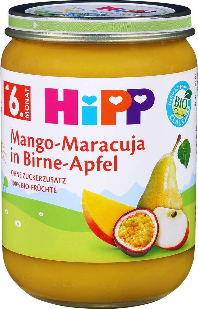 Abbildung des Sortimentsartikels Hipp Früchte Bio Mango/Marac./Apfel ab dem 6.Monat 190g