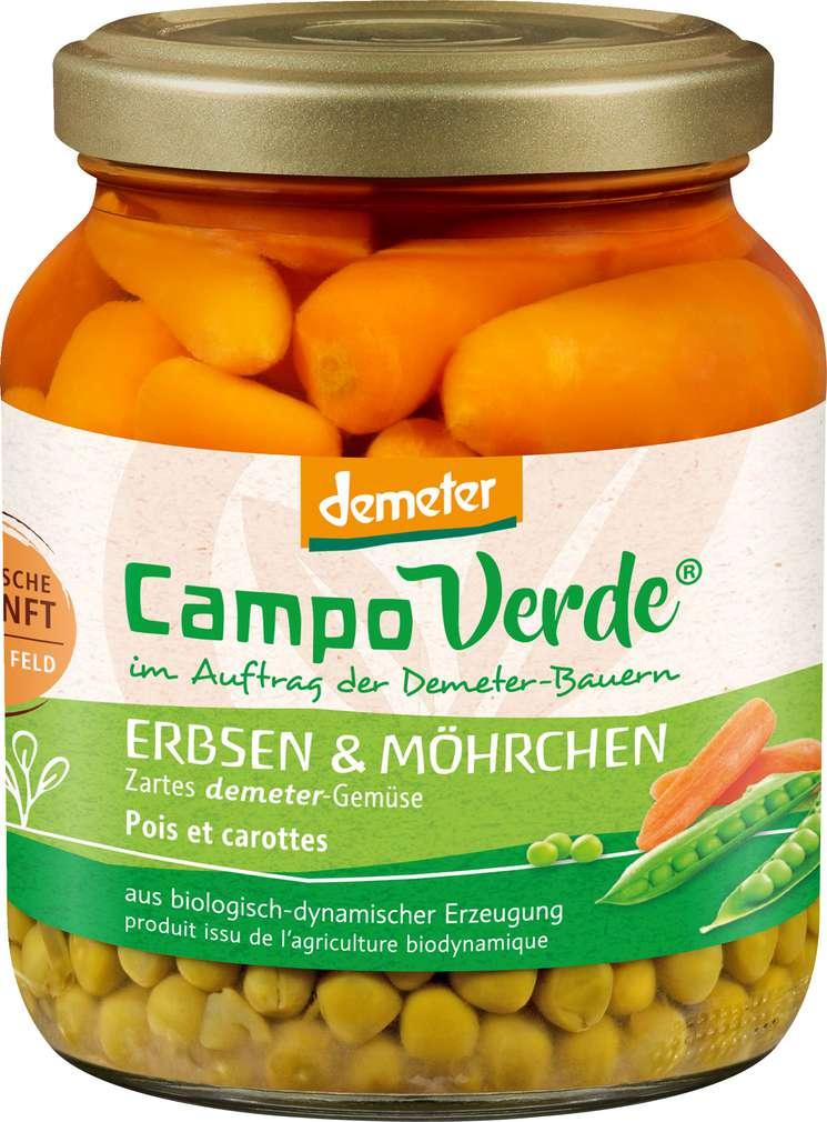 Abbildung des Sortimentsartikels Campo Verde Demeter Erbsen und Möhrchen 350g