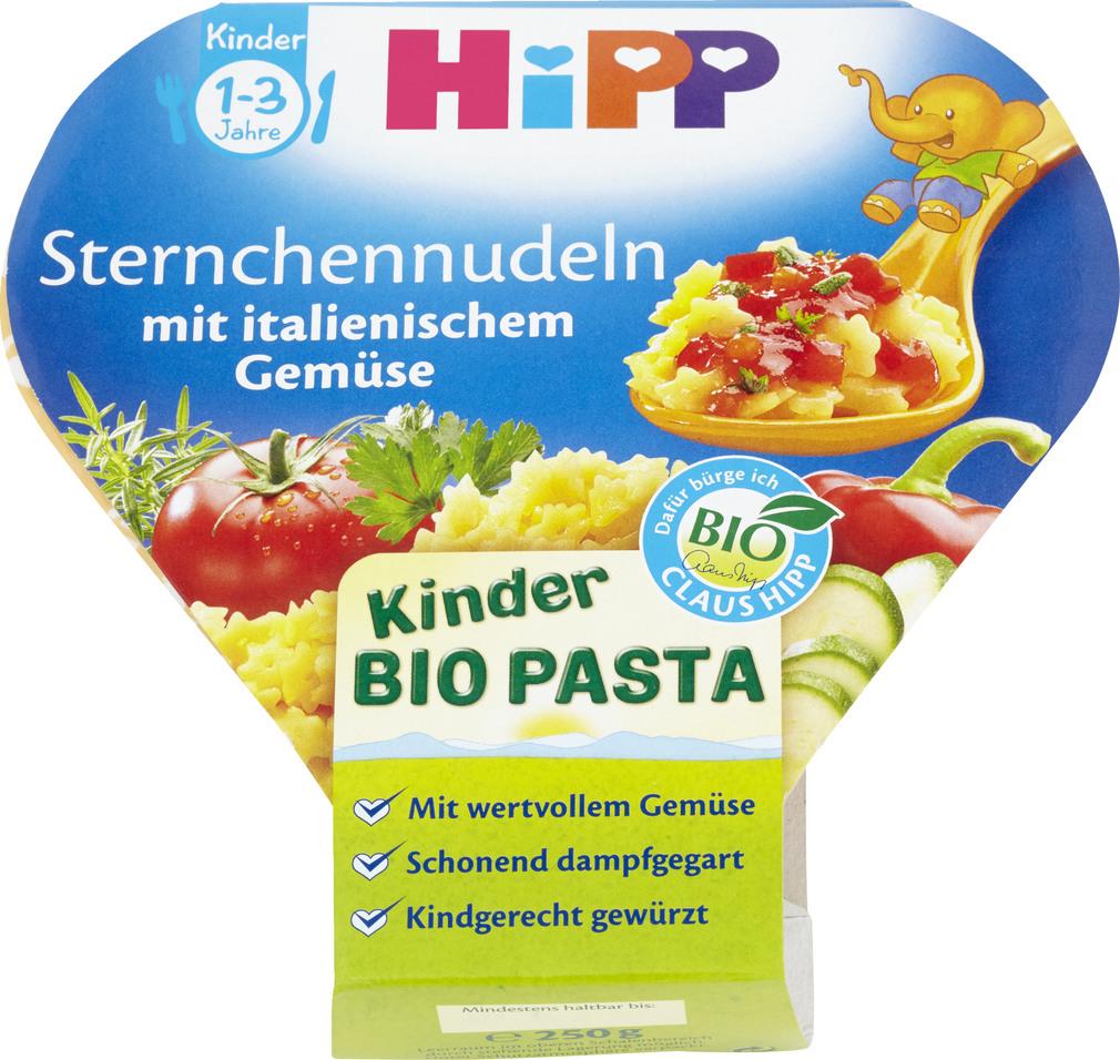 Abbildung des Sortimentsartikels Hipp Kinder Bio Pasta Sternchennudeln mit italienischem Gemüse