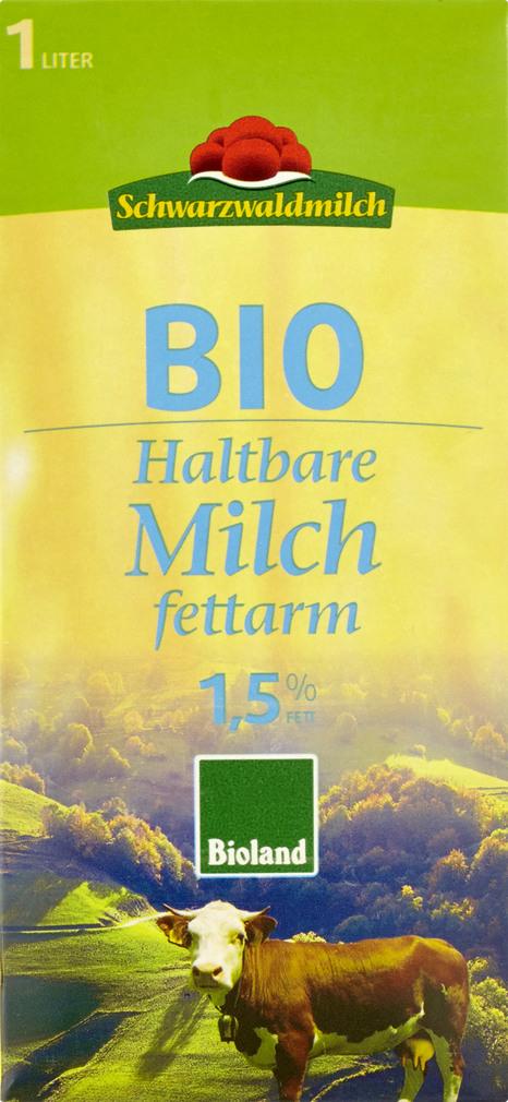 Abbildung des Sortimentsartikels Schwarzwaldmilch Haltbare fettarme Bio Milch 1,5% 1l