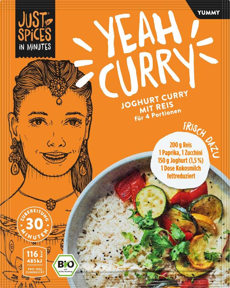 Abbildung des Sortimentsartikels Just Spices Bio-Gewürz Joghurt Curry mit Reis lf 35g