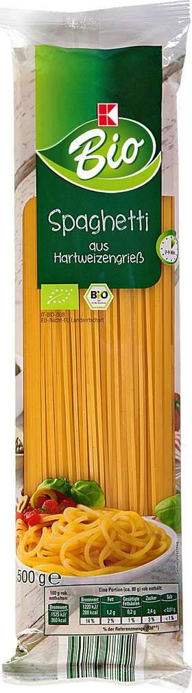 Abbildung des Sortimentsartikels K-Bio Spaghetti 500g