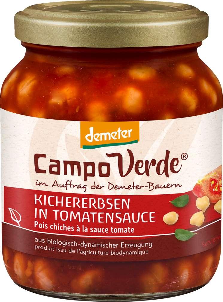 Abbildung des Sortimentsartikels Campo Verde Demeter Kichererbsen in Tomatensoße 350g