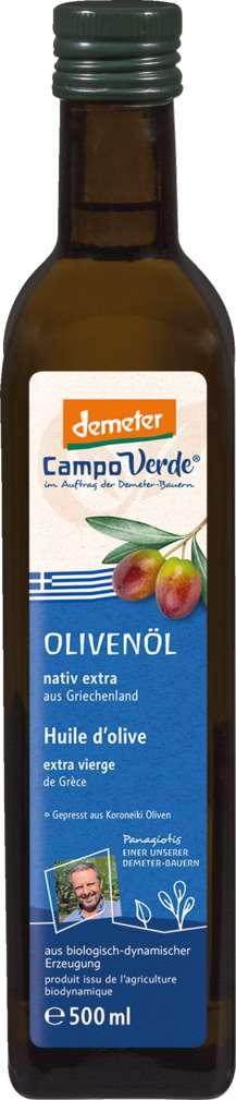 Abbildung des Sortimentsartikels Campo Verde Demeter Olivenöl griechisch 500ml