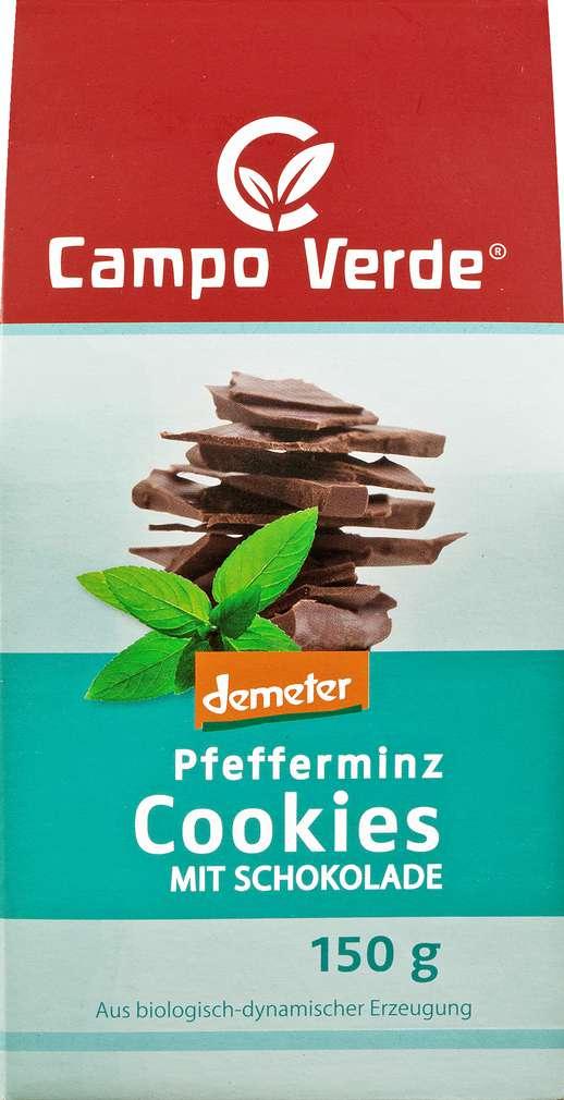 Abbildung des Sortimentsartikels Campo Verde Demeter Pfefferminz Cookies mit Schokolade 150g