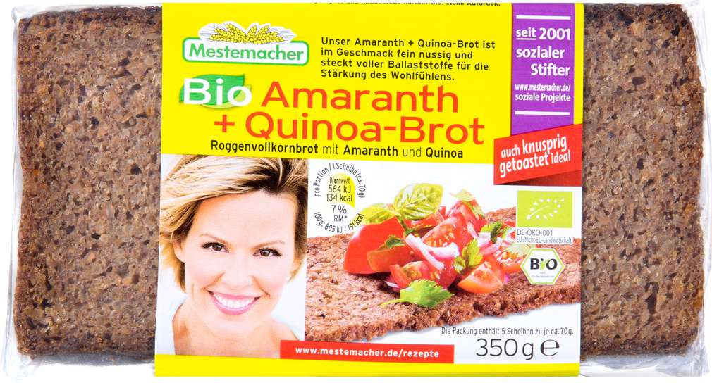 Abbildung des Sortimentsartikels Mestemacher Bio-Amaranth-Quinoa-Brot 350g
