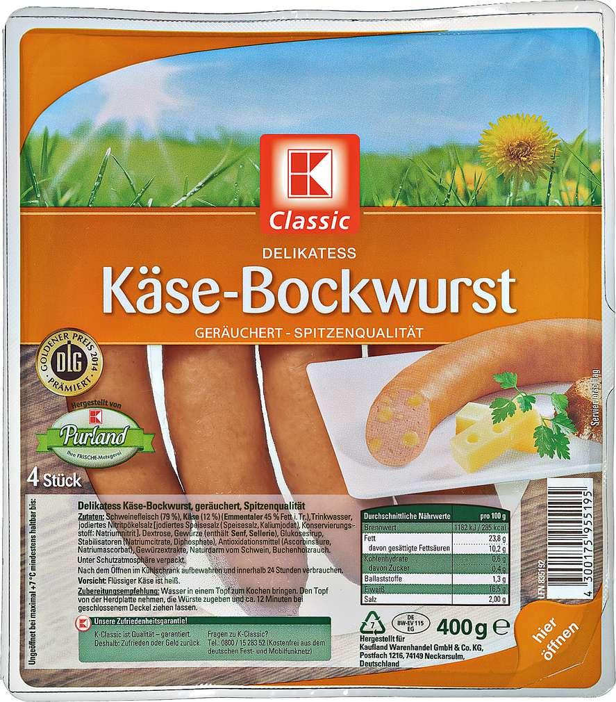 Abbildung des Sortimentsartikels K-Classic Delikatess Käsebockwurst 400g