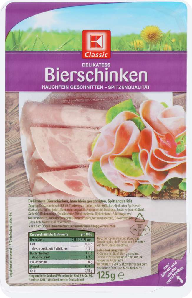 Abbildung des Sortimentsartikels K-Classic Delikatess Bierschinken Hauchschnitt 125g