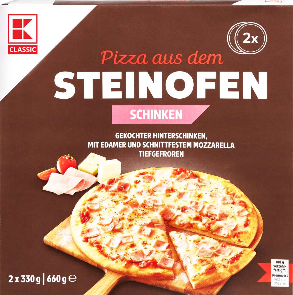 Abbildung des Sortimentsartikels K-Classic Steinofen-Pizza Schinken 2x330g