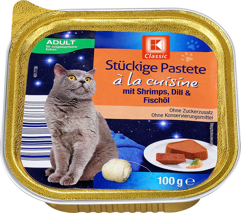 Abbildung des Sortimentsartikels K-Classic Katzennahrung Shrimps+Dill+Fischöl 100g