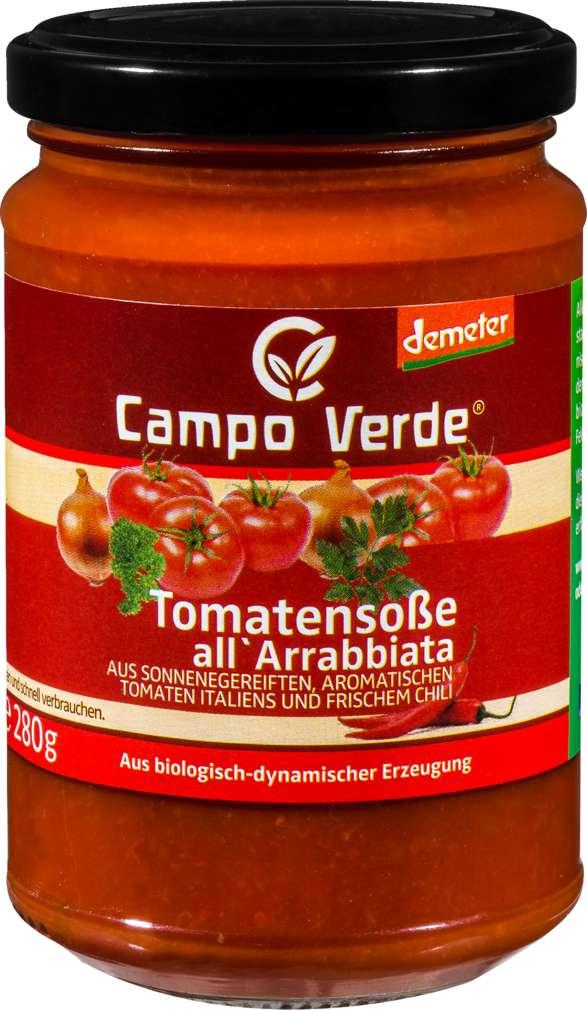 Abbildung des Sortimentsartikels Campo Verde Demeter Tomatensoße Arrabbiata 314ml