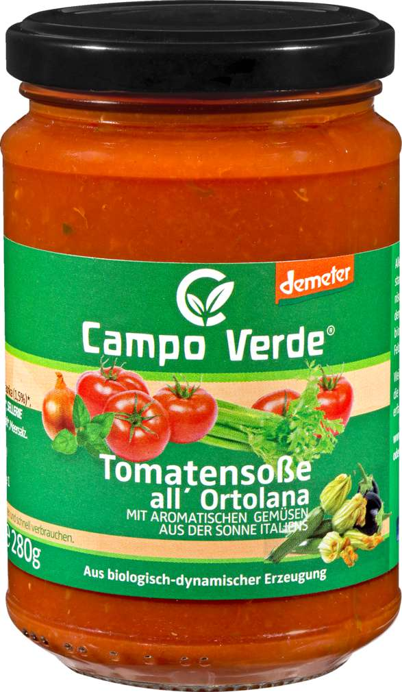 Abbildung des Sortimentsartikels Campo Verde Demeter Tomatensoße Ortolana 314ml