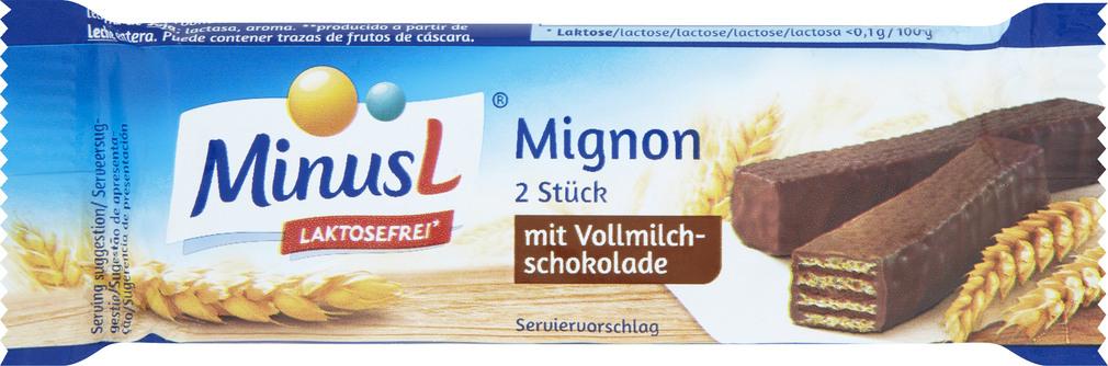 Abbildung des Sortimentsartikels MinusL Mignon mit Vollmilchschokolade 30g