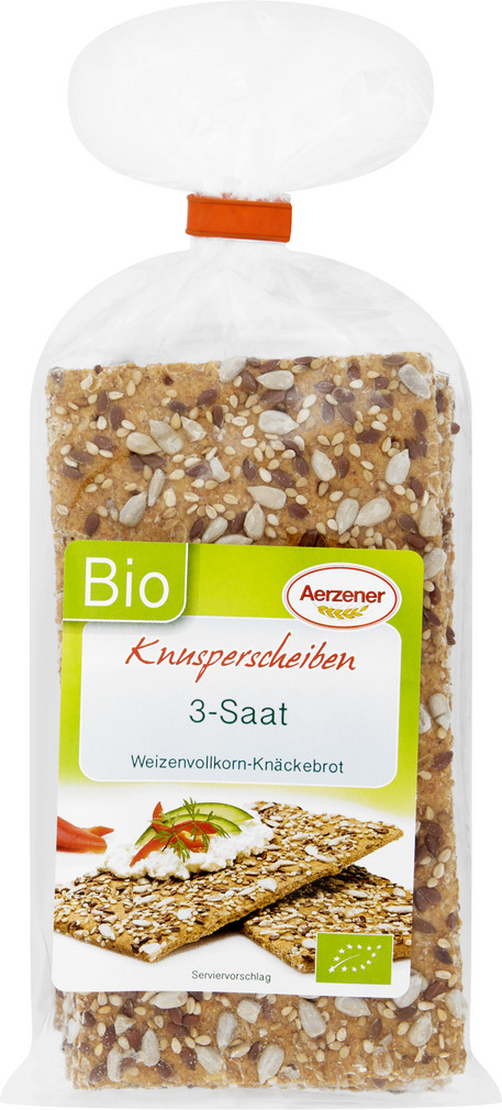 Abbildung des Sortimentsartikels Aerzener Knusperscheiben 3-Saat Weizenvollkorn 200g