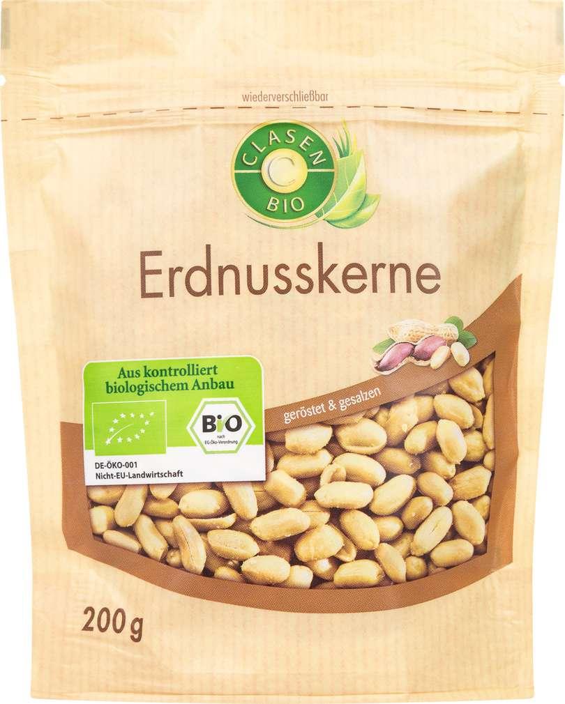 Abbildung des Sortimentsartikels Clasen Bio Erdnusskerne geröstet & gesalzen 200g