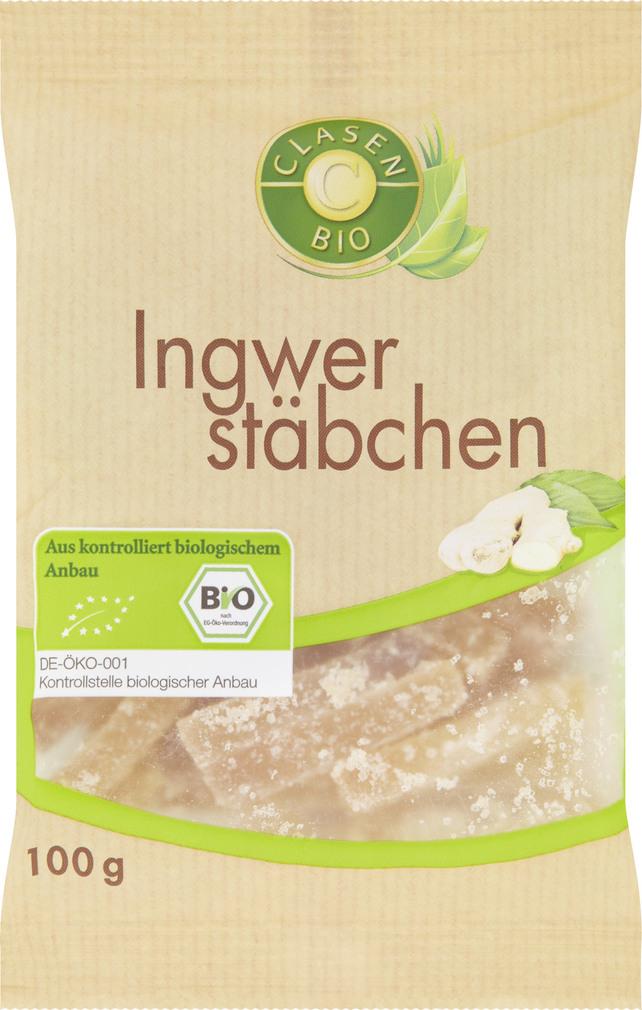 Abbildung des Sortimentsartikels Clasen Bio Ingwerstäbchen 100g