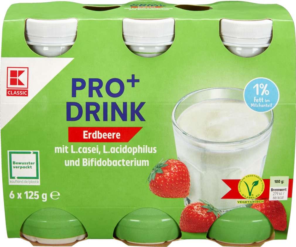 Abbildung des Sortimentsartikels K-Classic Pro⁺ Drink 1% Fett, Erdbeere 6x125g