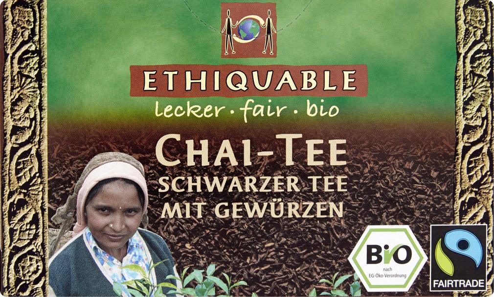 Abbildung des Sortimentsartikels Ethiquable Chai-Tee Schwarzer Tee mit Gewürzen 20x1,8g