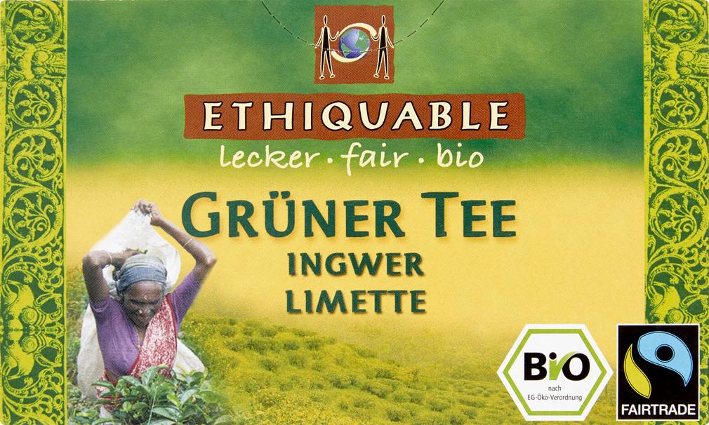 Abbildung des Sortimentsartikels Ethiquable Grüner Tee Ingwer Limette 20x1,8g