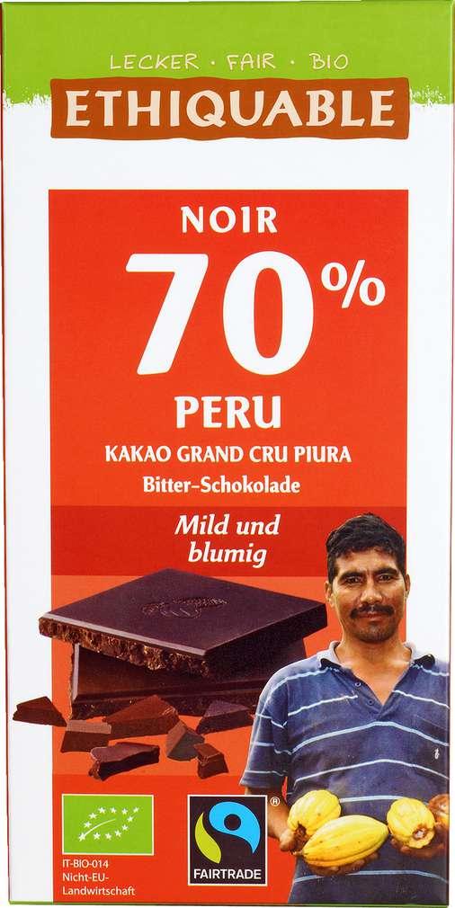 Abbildung des Sortimentsartikels Ethiquable Noir 70 % Bitter-Schokolade 100g