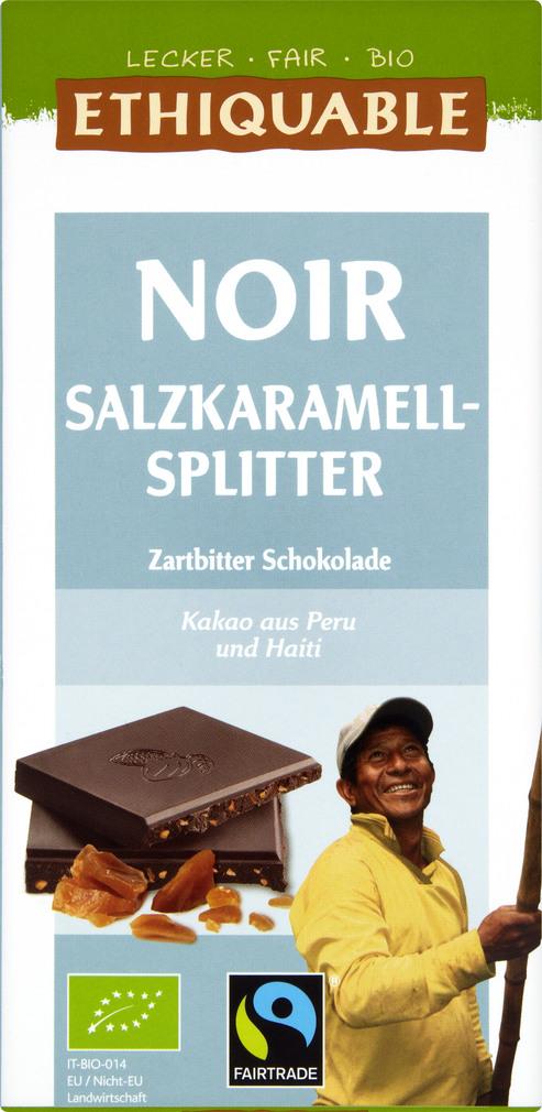 Abbildung des Sortimentsartikels Ethiquable Noir Salzkaramell-Splitter Zartbitter Schokolade 100g