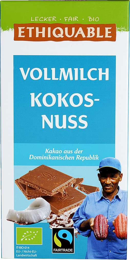 Abbildung des Sortimentsartikels Ethiquable Vollmilch-Schokolade Kokosnuss 100g