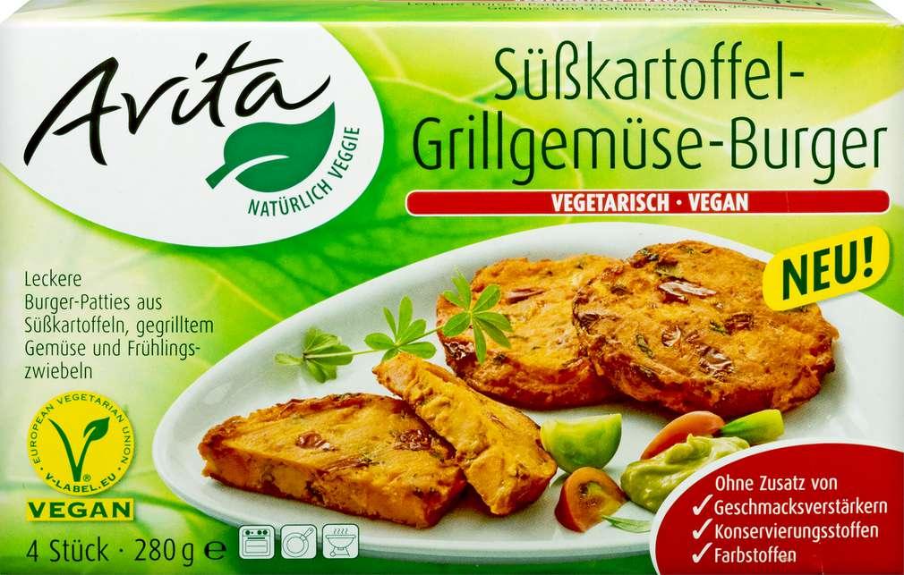 Abbildung des Sortimentsartikels Avita Grillgemüse-Burger Süßkartoffel 280g