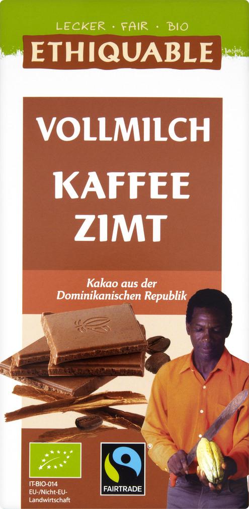 Abbildung des Sortimentsartikels Ethiquable Vollmilch-Schokolade mit Kaffee Zimt 100g