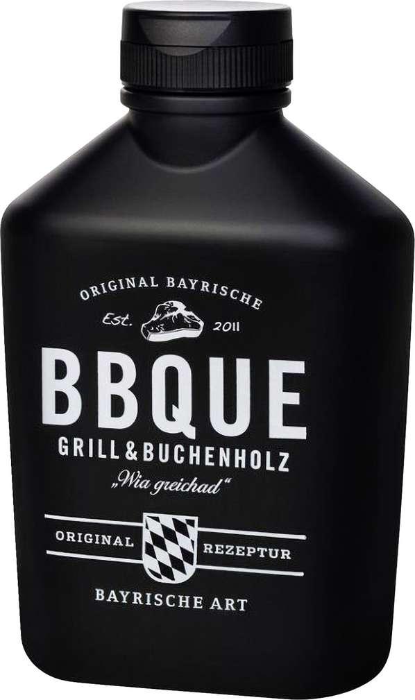 Abbildung des Sortimentsartikels Macandoo BBQUE Barbecue Sauce Grill & Buchenholz 472g