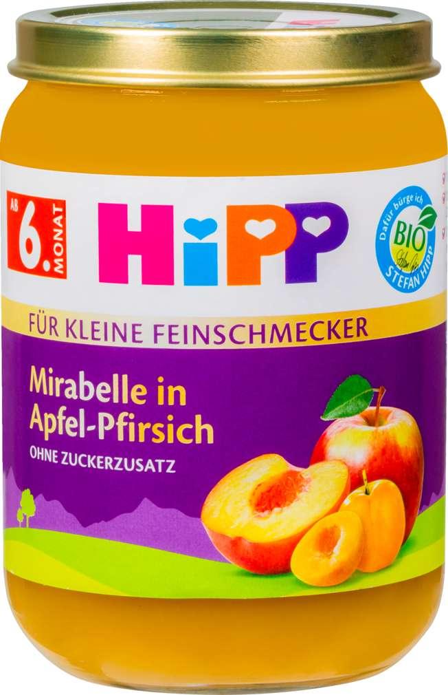 Abbildung des Sortimentsartikels Hipp Feinschmecker Mirab./Apf./ Pfirs. ab 6. Monat 190g