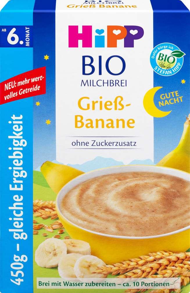 Abbildung des Sortimentsartikels Hipp Gute nacht Brei Grieß/Banane ab dem 6. Monat 450g