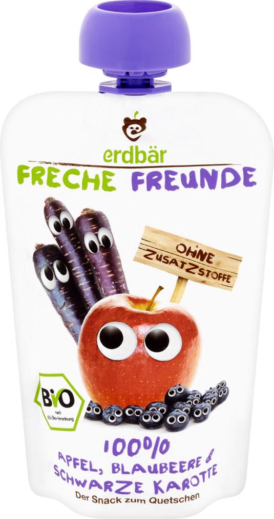 Abbildung des Sortimentsartikels Erdbär Freche Freunde Quetschmus 100% Apfel Blaubeere & Schwarze Karotte 100g