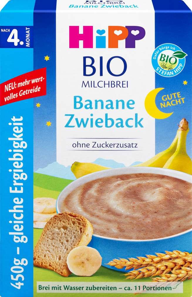Abbildung des Sortimentsartikels Hipp Bio Gute Nacht Brei Banane Zwieback ab dem 4. Monat 450g