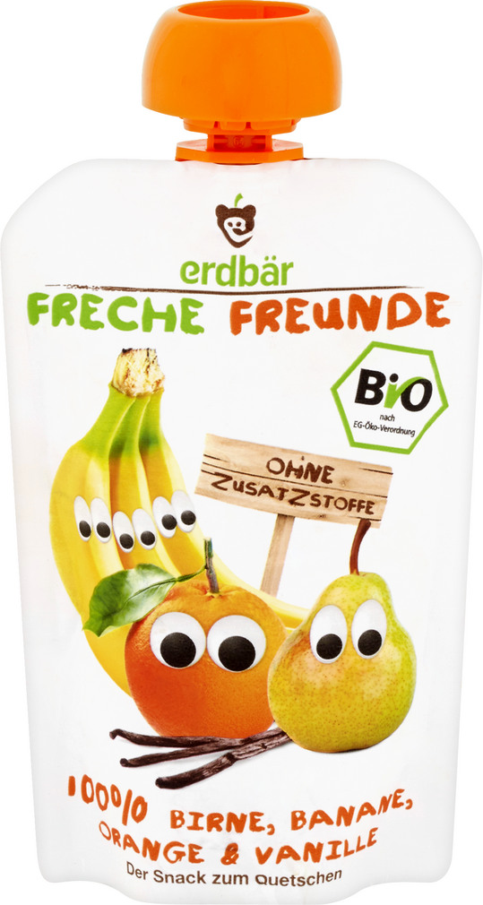 Abbildung des Sortimentsartikels Erdbär Freche Freunde 100% Birne, Banane, Orange & Vanille 100g